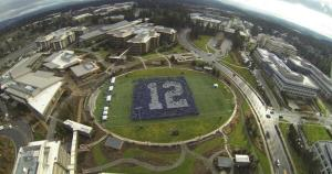 12th man flag on campus
