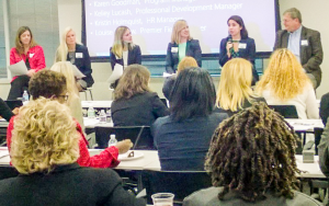 Panelist Grace Barajas Orozco shares her personal journey at Microsoft with other Women in Technology at Reston's Meet the Company Event on October 27th.